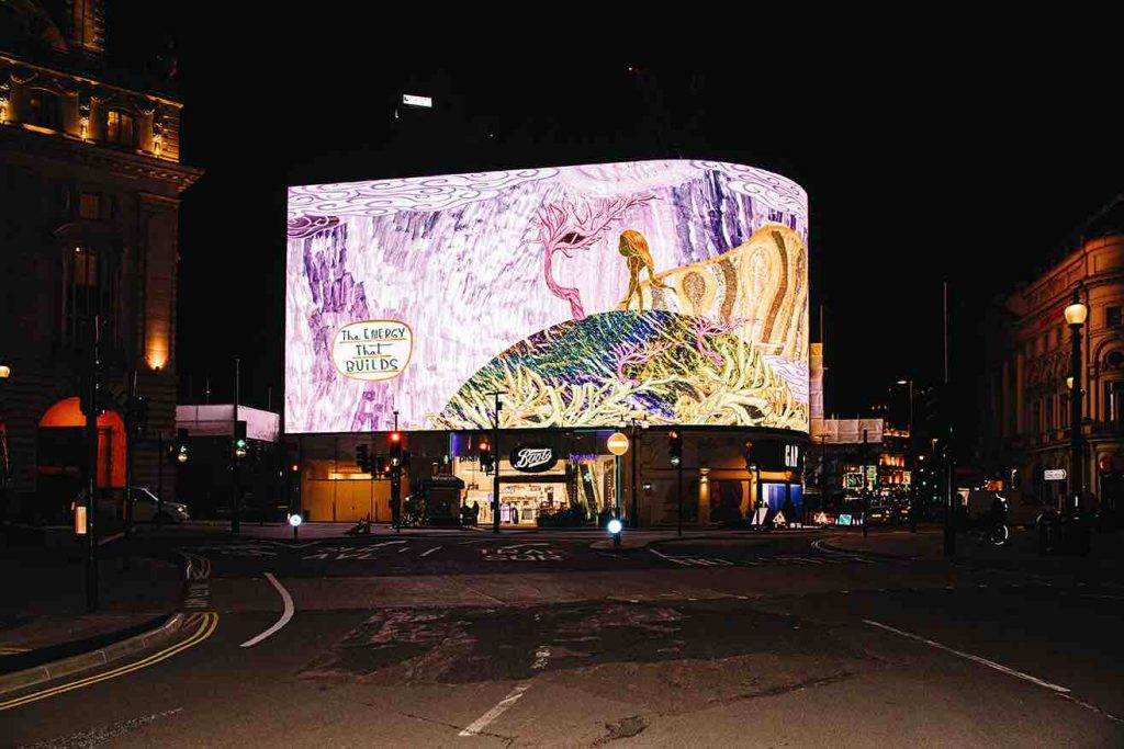 'Our Own Creation' plays on the Piccadilly Lights